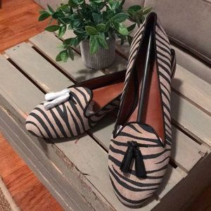 NEw in box Lucky Brand Zebra flats with tassels